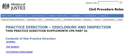 Practice Direction to Part 31 CPR