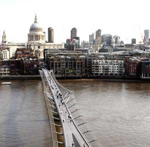 Millennium Bridge and St Pauls from Tate Modern