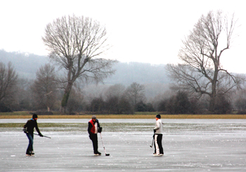 Ice hockey on Port Meadow, Oxford