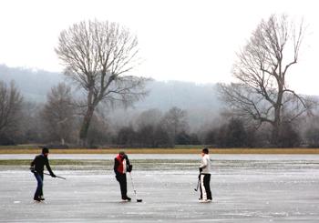 Ice hockey on Port Meadow, Oxford