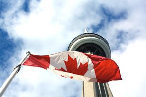 Canadian flag and CN Tower