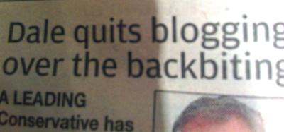 Dale quits blogging